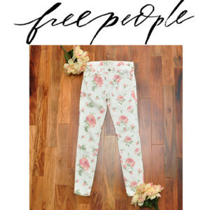 Free People Floral White Pink Jeggings Sz 28